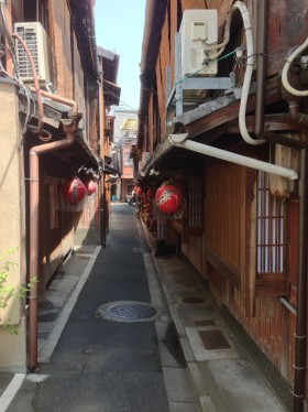 Gion, or Geisha, District of Kyoto. Still a functioning neighborhood.