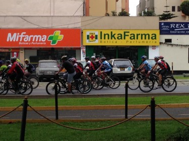 Cyclists on their way to the Ciclovia in Miraflores