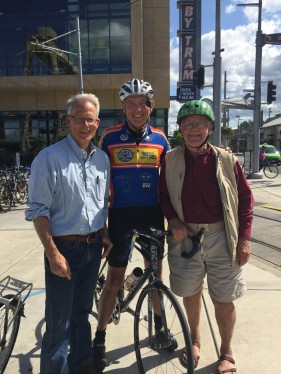 Rex Burkholder, co-founder, BTA; Ray Thomas, Bicycle Legal Clinic; Mayor Bud Clark